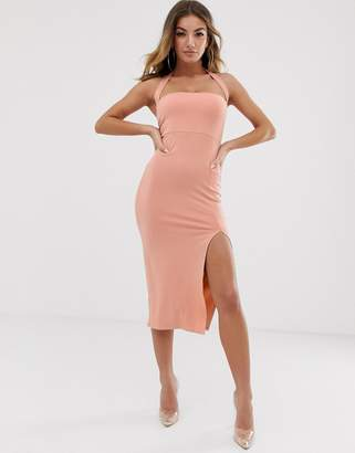 119b81bfbda Asos Design DESIGN going out 90 s halter bodycon midi dress