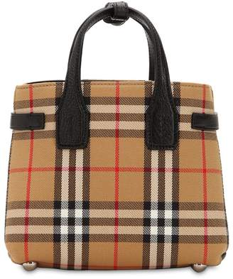 Burberry Banner Baby Checked Canvas & Leather Bag