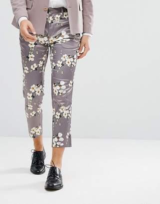 Asos Wedding Skinny Crop Smart Pants With Light Grey Floral Print