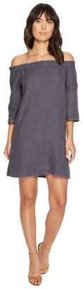 Allen Allen Ruffle Edge Linen Dress Women's Dress
