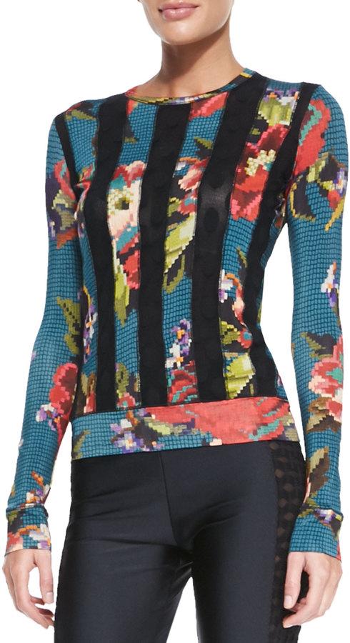 Jean Paul Gaultier Floral-Print Dot-Striped Top, Blue/Multi