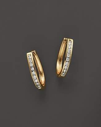 Bloomingdale's Diamond Channel Set Oval Hoop Earrings in 14K Yellow Gold, .20 ct. t.w.