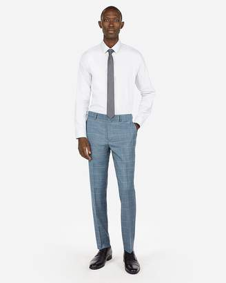 Express Extra Slim Windowpane Plaid Wool-Blend Stretch Suit Pant