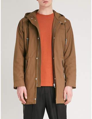 The Kooples Hooded cotton-gabardine parka coat