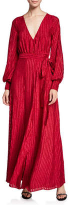 Fame & Partners The Rachel Long Long-Sleeve Striped Self-Tie Wrap Dress