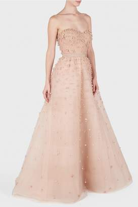 Reem Acra Pearl Embellished Strapless Ball Gown
