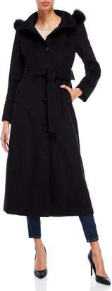 Ellen Tracy Black Real Fur Trim Belted Coat