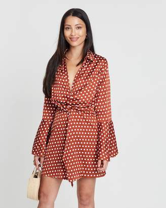 Missguided Wrap Front Polka Dot Dress