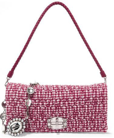 Miu MiuMiu Miu - Vichy Matelassé Gingham Poplin Shoulder Bag - Red