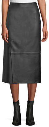 Vince Slit Leather Midi Skirt