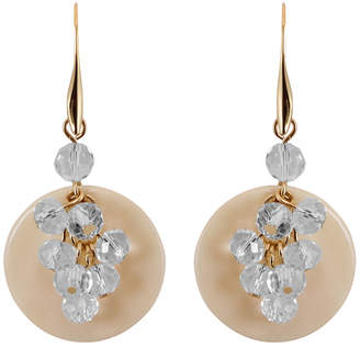 Gottex 18K Plated Shell & Crystal Cluster Earrings