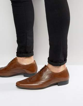 Asos Design DESIGN oxford brogue shoes in tan leather