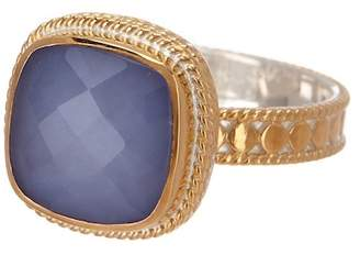 Anna Beck 18K Gold Plated Blue Chalcedony Marquis Cocktail Ring