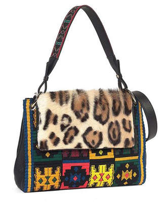 Etro Leopard-Print Fur-Flap Embroidered Shoulder Bag