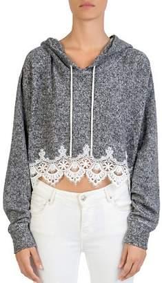 The Kooples Cropped Fleece Lace-Trim Hooded Sweatshirt