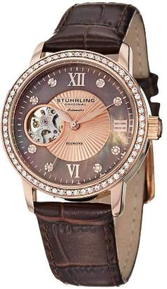 Stuhrling Original Original Memoire 710.05 34mm Automatic Stainless Steel Case Brown Calfskin krysterna Women's Watch