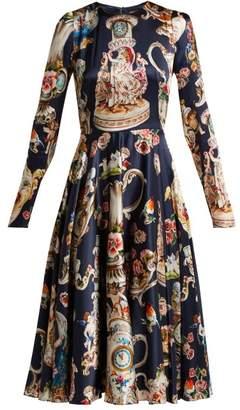 Dolce & Gabbana Porcelain Angels Print Satin Dress - Womens - Navy Print