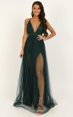 Showpo Like A Vision Dress In emerald mesh - 4 (XXS) Dresses