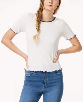 Almost Famous Juniors' Colorblocked Lettuce-Edge T-Shirt