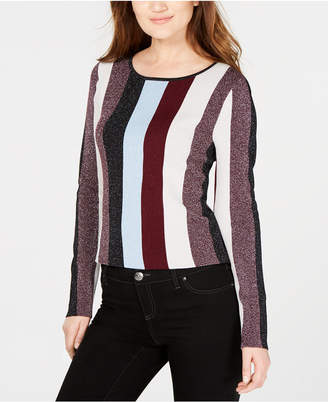 INC International Concepts I.n.c. Petite Striped Metallic Sweater