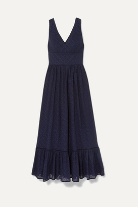 Heidi Klein Tiered Broderie Anglaise Cotton Maxi Dress - Navy