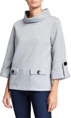 Joan Vass Ottoman Two-Pocket 3/4-Sleeve Pullover