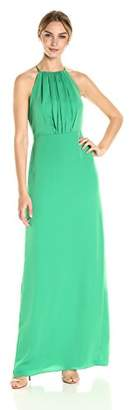 Halston Women's Sleeveless Round Neck Gown with Flounce Cirss Cross Back