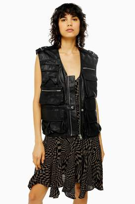 Topshop Womens Idol Leather Utility Gilet - Black