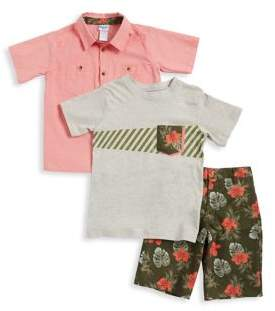 Nannette Boys' Three-Piece Tropical Print T-Shirt, Button-Down Shirt and Shorts Set