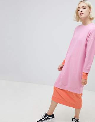 Asos DESIGN double layer color block sweat dress