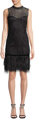 Elie Tahari Mirage Mock-Neck Sleeveless Beaded Cocktail Dress w/ Ostrich Feather Hem