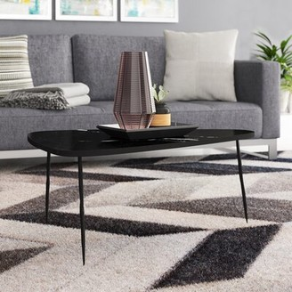 Brayden Studio Athanas Small Coffee Table with Marble and Iron Legs Brayden Studio
