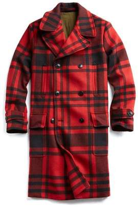 Todd Snyder Plaid Officer Coat with removable Shearling Collar in Red