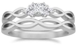 FineTresor 1.00 Carat Princess cut Diamond Diamond Wedding Set On 10K White Gold