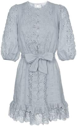 Zimmermann Iris scalloped embroidered cotton mini dress