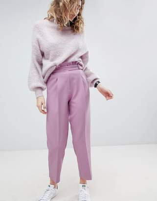 Asos Design Tailored Frill Waist Trouser With Buckle Detail