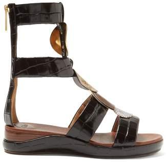 ebd7801867bf Chloé Crocodile Effect Leather Gladiator Sandals - Womens - Black