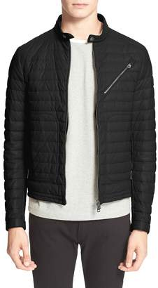 Moncler 'Casteau' Channel Quilted Leather Down Jacket