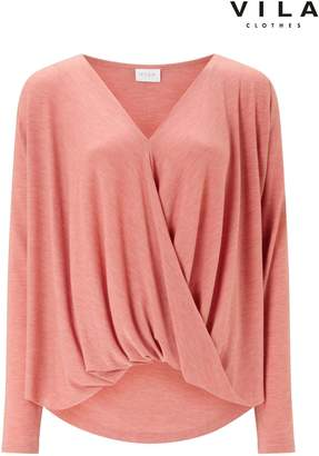 Next Womens Vila Long Sleeve Wrap Top