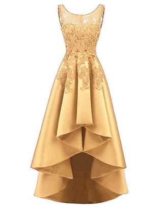 b5175074de86 Vweil Women s High Low Beaded Satin Prom Evening Dress Lace Applique  Bridesmaid Party Gown