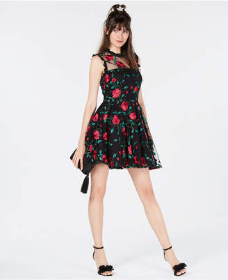 City Studios Juniors' Floral-Embroidered Fit & Flare Dress