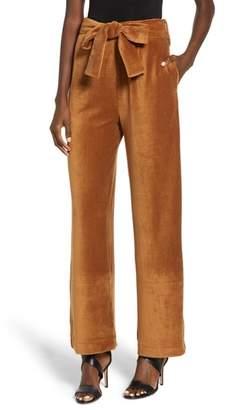 Moon River Velour Tie Waist Pants