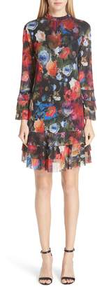 Fuzzi Mock Neck Floral Tulle Dress