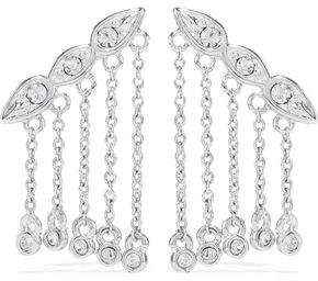 Luv Aj Posie Dangle Crawler Silver-Tone Crystal Earrings