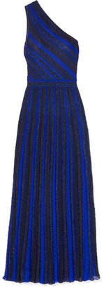 Missoni One-shoulder Striped Metallic Crochet-knit Gown - Blue