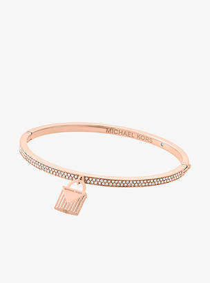8d662ccdd64a at Michael Kors Michael Kors Pave Rose Gold-Tone Lock Charm Bangle
