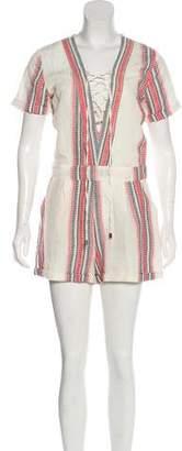 Tularosa Lace-Up Linen-Blend Romper