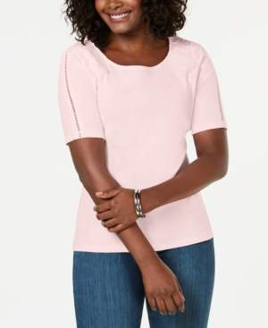 Karen Scott Cotton Lace-Applique T-Shirt, Created for Macy's