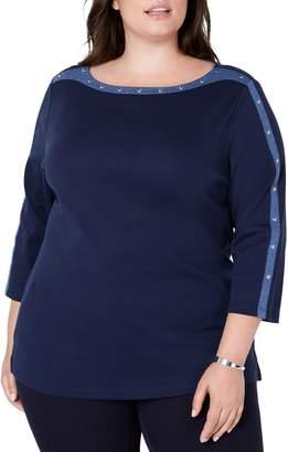 Karen Scott Plus Studded Cotton Top