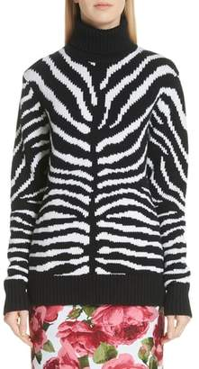 Michael Kors Intarsia Zebra Print Cashmere Sweater